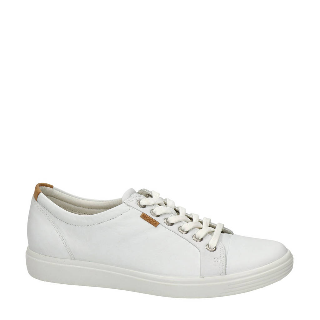 Ecco Soft 7 comfort leren veterschoenen wit, Wit