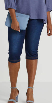 Zizzi slim fit capri jeans Emily donkerblauw, Donkerblauw