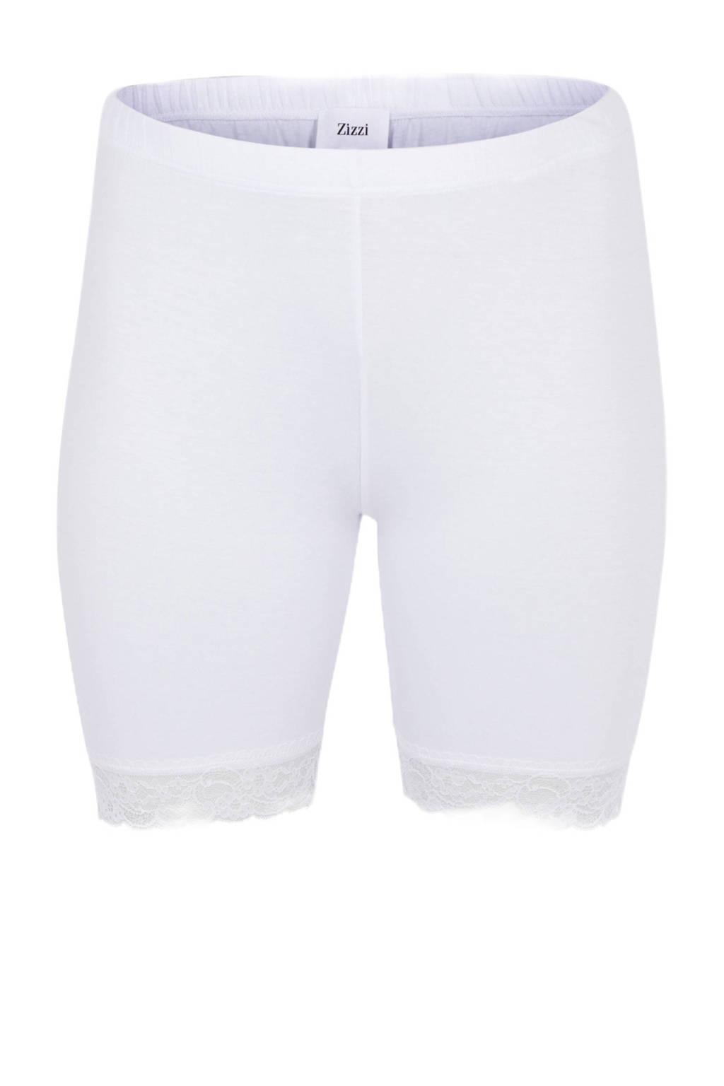 Zizzi korte legging met kanten details, Wit