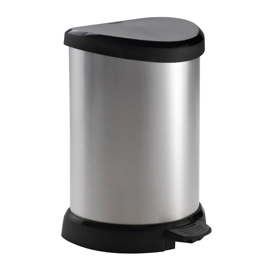 Curver Decobin 20 liter pedaalemmer, Zilver metallic/zwart