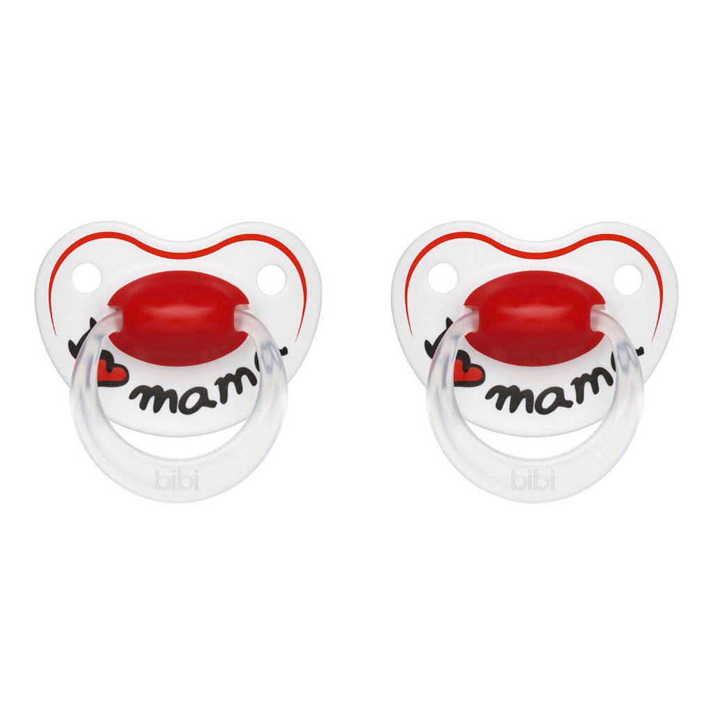 Bibi fopspeen Happiness I Love Mama 0-6 mnd (2 stuks), Vanaf de geboorte