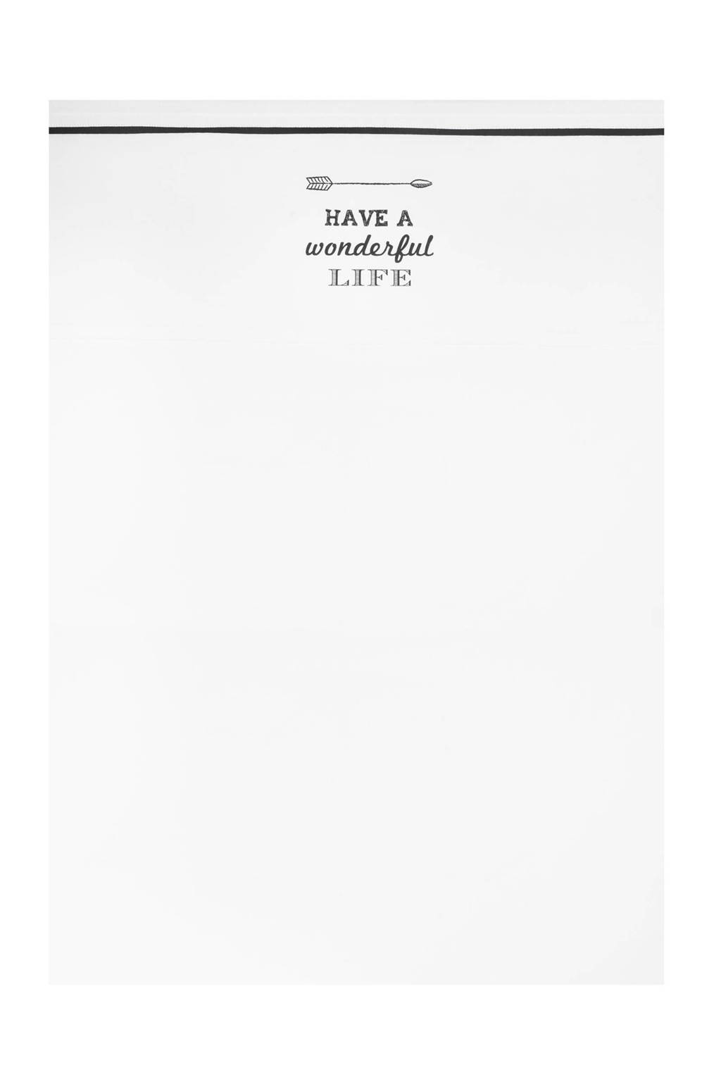 Jollein Have a wonderful life ledikantlaken 120x150 cm zwart, Wit
