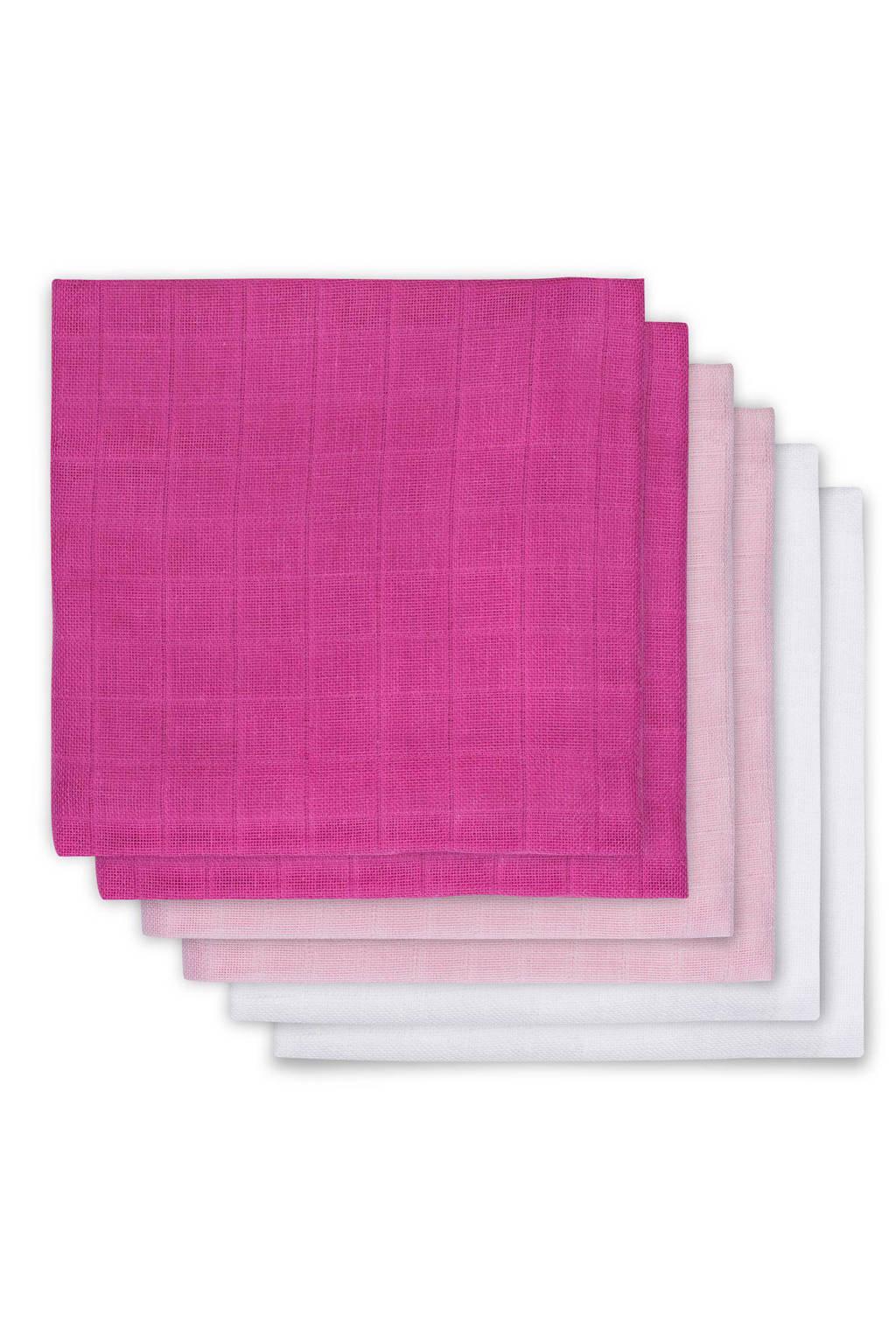 Jollein hydrofiel luiers 70x70 cm roze/wit (6 stuks), Roze/wit