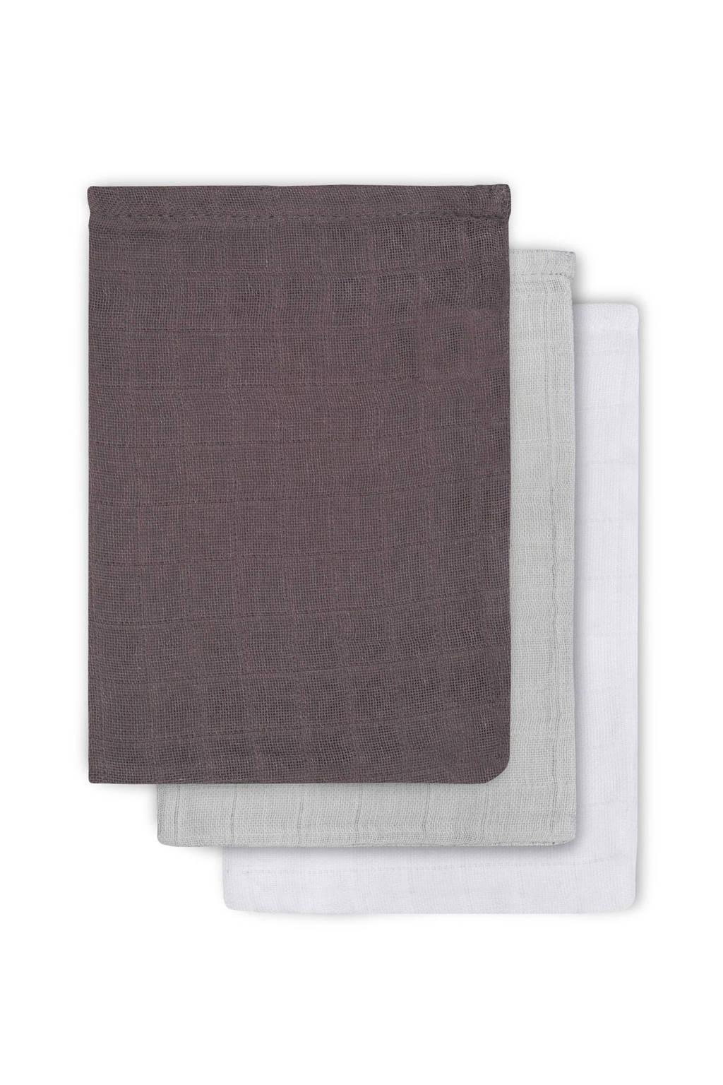 Jollein hydrofiel washandjes (3 stuks), Antraciet/grijs/wit