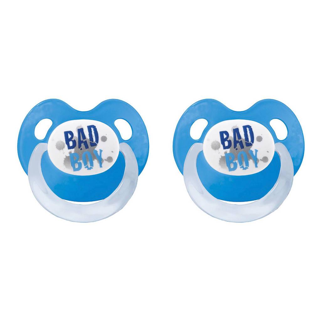 Bibi fopspeen Bad Boy 0-6 mnd (2 stuks), 0-6 maand