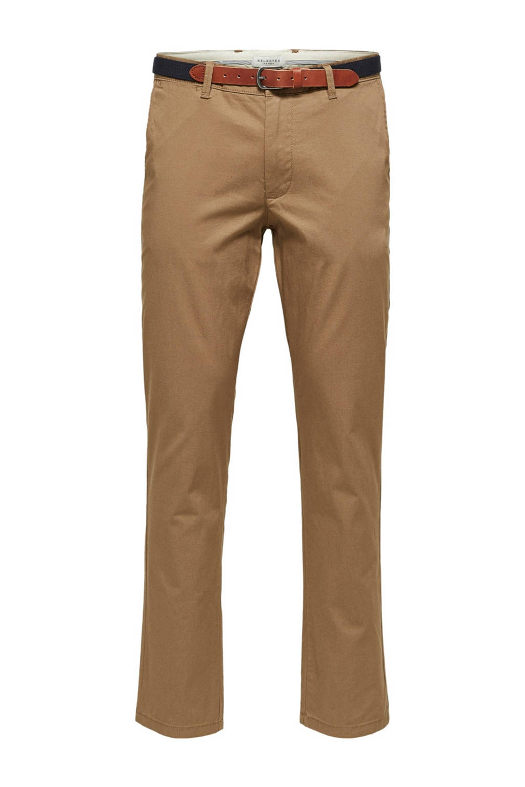 SELECTED HOMME slim fit chino, Donker camel