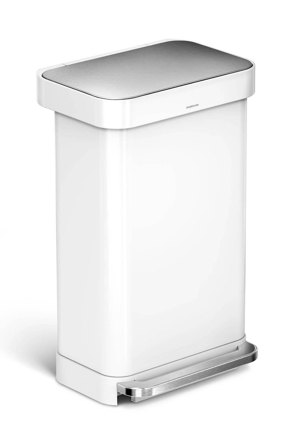 SimpleHuman SH018140 pedaalemmer 45 liter, Wit