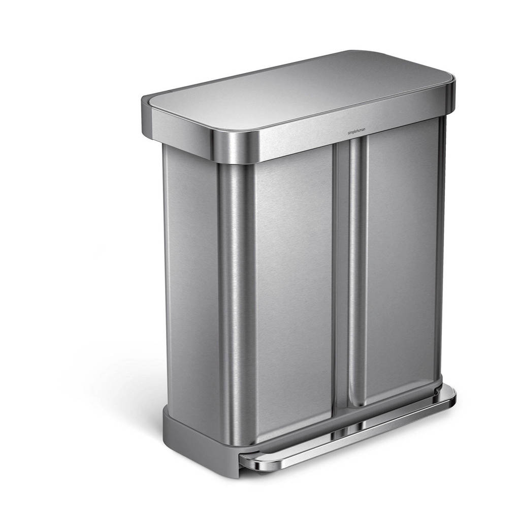SimpleHuman  pedaalemmer 34+24 liter, Zilver