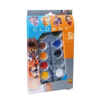 Clowny schmink met 10 kleuren