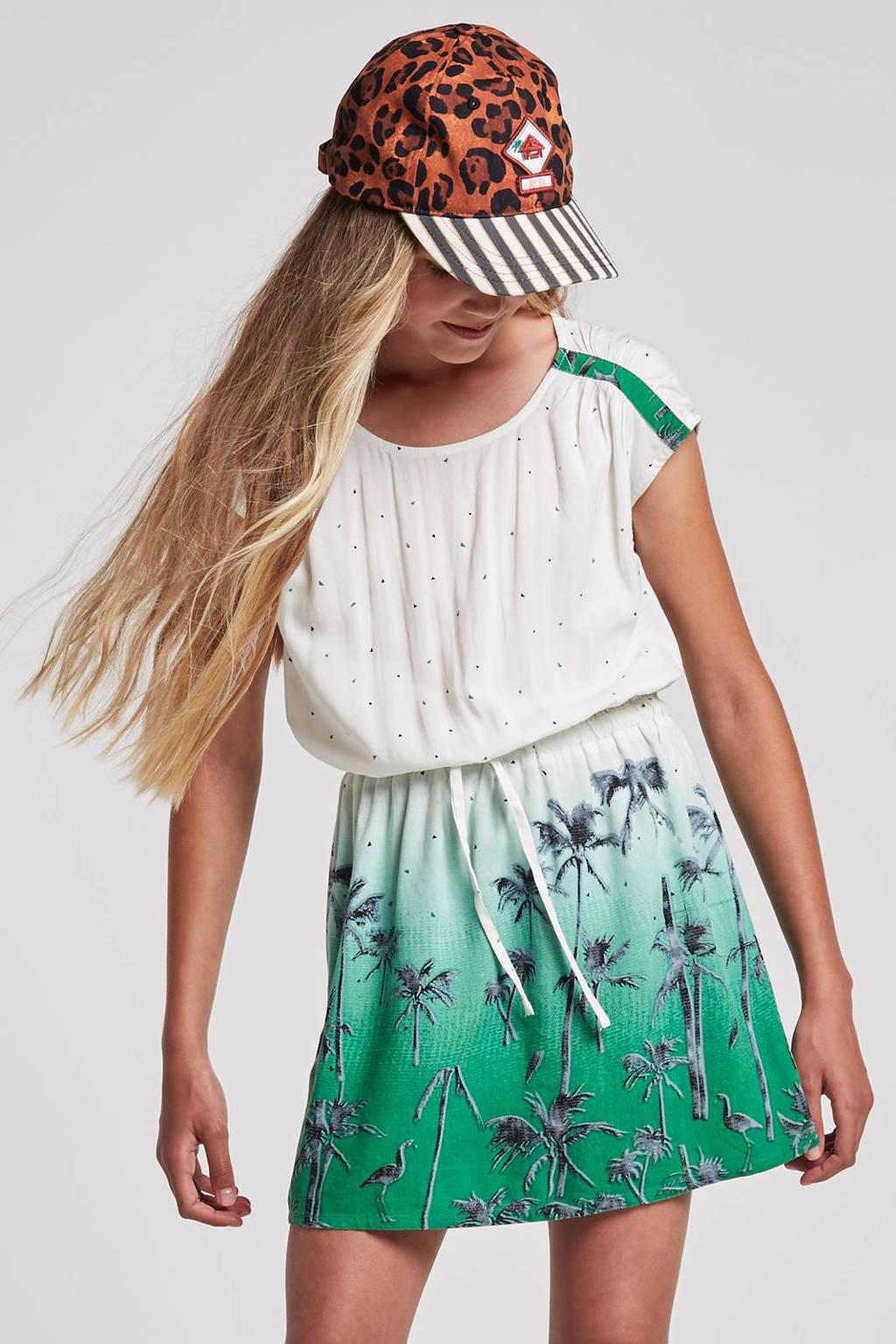 whkmp's beachwave jurk met all over print, Wit/groen