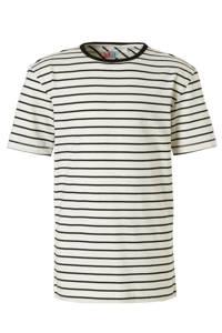 NOP T-shirt met streepdessin, Wit / Zwart