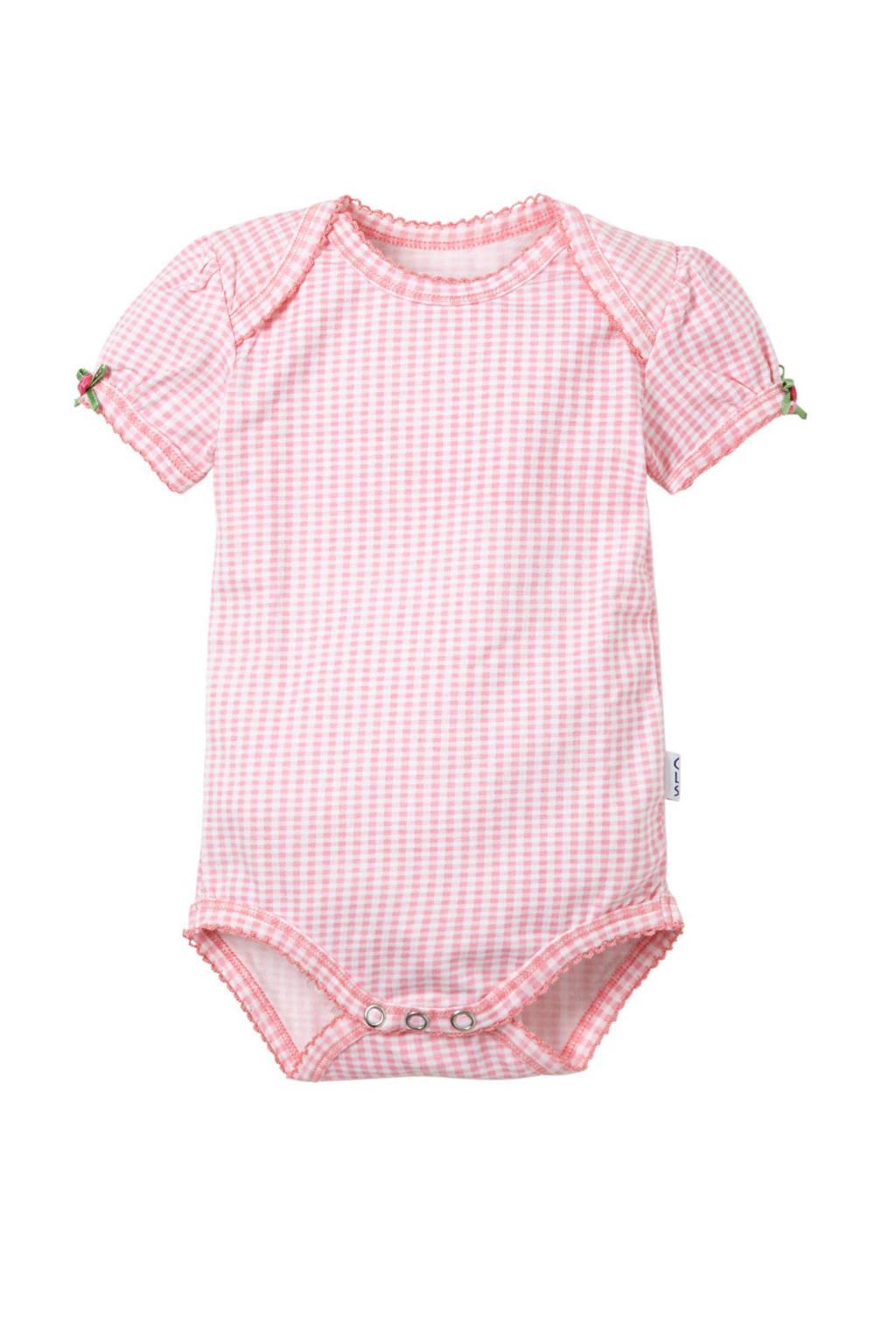 Claesen's baby romper, Roze/wit