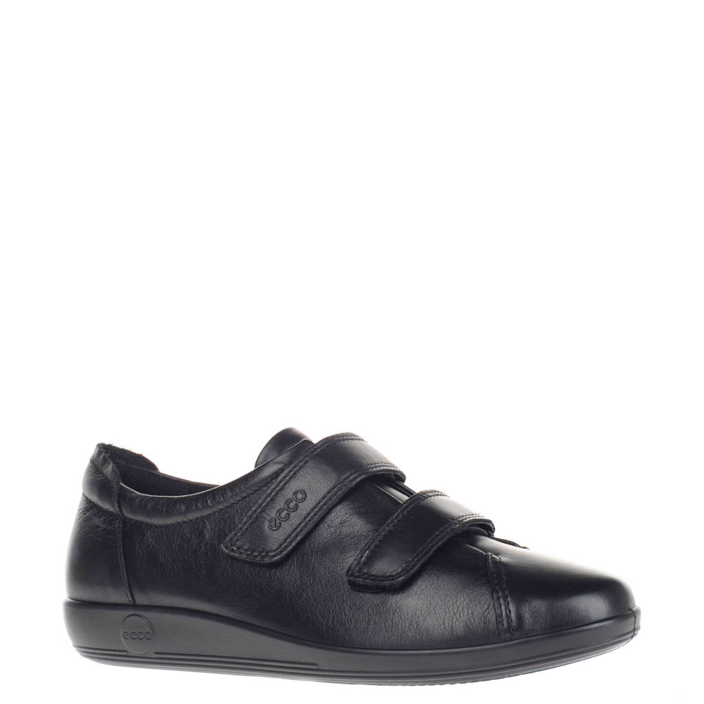 Ecco  Comfort Soft 2.0 leren klittenbandschoenen zwart, Zwart