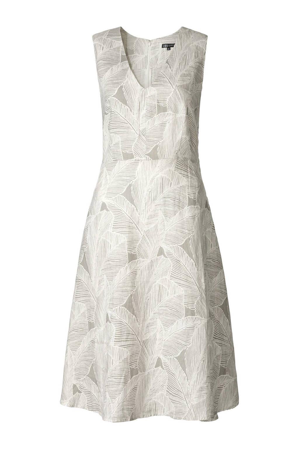 Didi linnen jurk, Wit/grijs