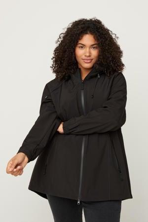 waterdichte softshell jas zwart met capuchon