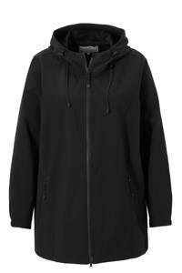 Zizzi softshell jas zwart met capuchon, Zwart