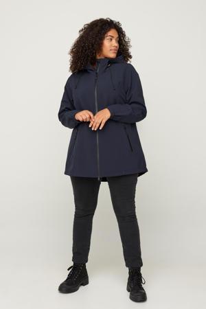 waterdichte softshell jas donkerblauw met capuchon