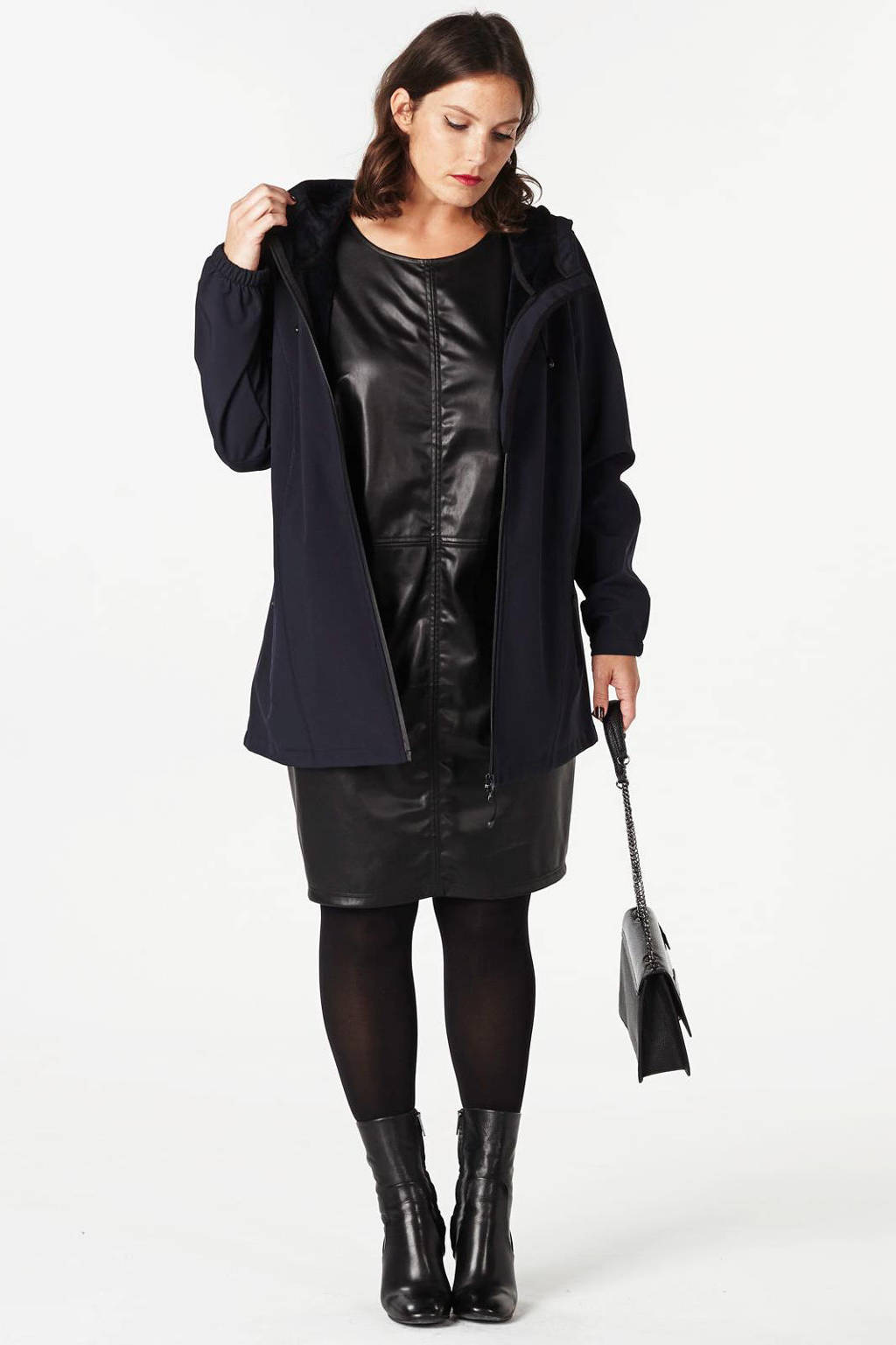 Zizzi softshell jas donkerblauw met capuchon, Donkerblauw