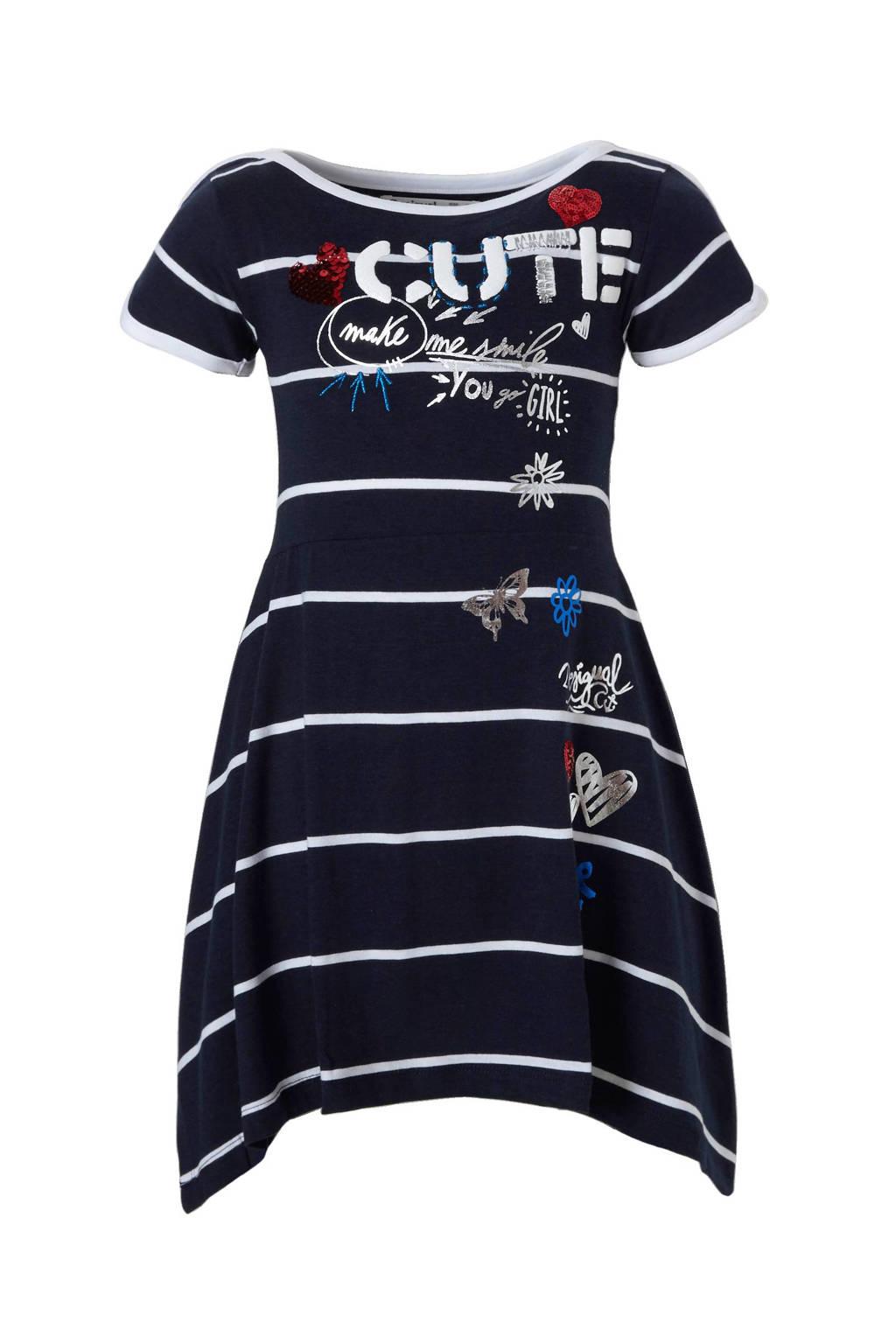 Desigual jurk met reversible pailletten, Donkerblauw/wit/rood/zilver