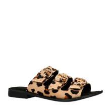 leren slippers met luipaardprint