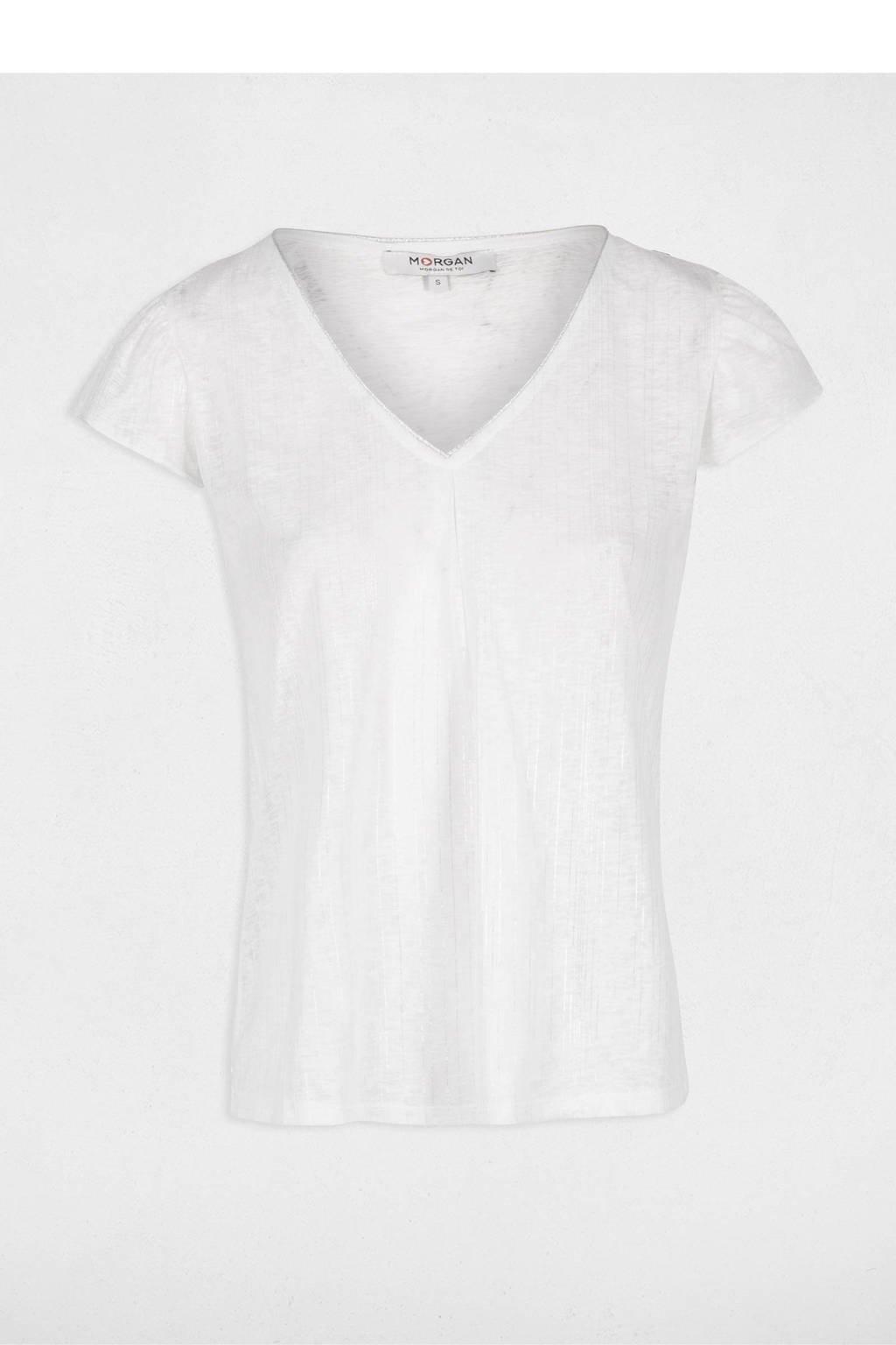 Morgan T-shirt gebroken wit, Gebroken wit