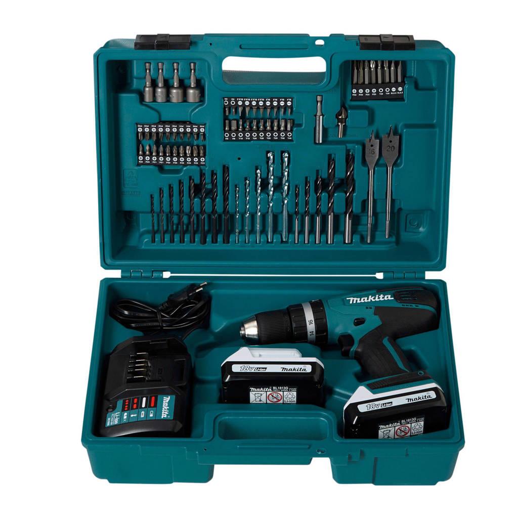Voorkeur Makita HP457DWE10 accuklopboormachine + accessoireset (75st) 18V RM04