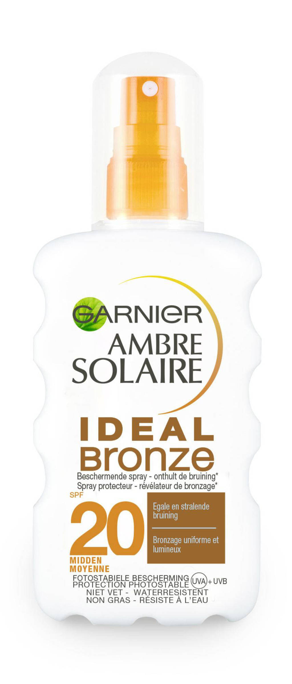 Ambre Solaire Ideal Bronze zonnebrand spray SPF 20 - 200 ml, Zonnefactor SPF 20