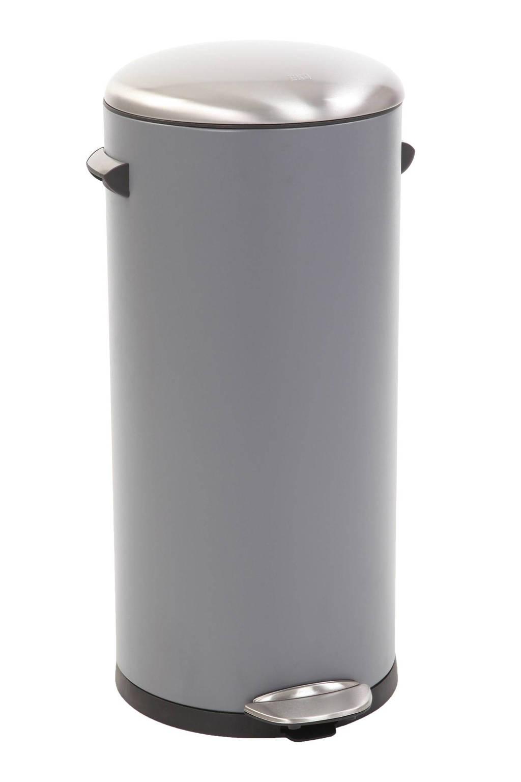 EKO Belle Deluxe Step Bin, 30 liter pedaalemmer, Sandcoated grijs