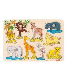 wilde dieren houten vormenpuzzel 9 stukjes