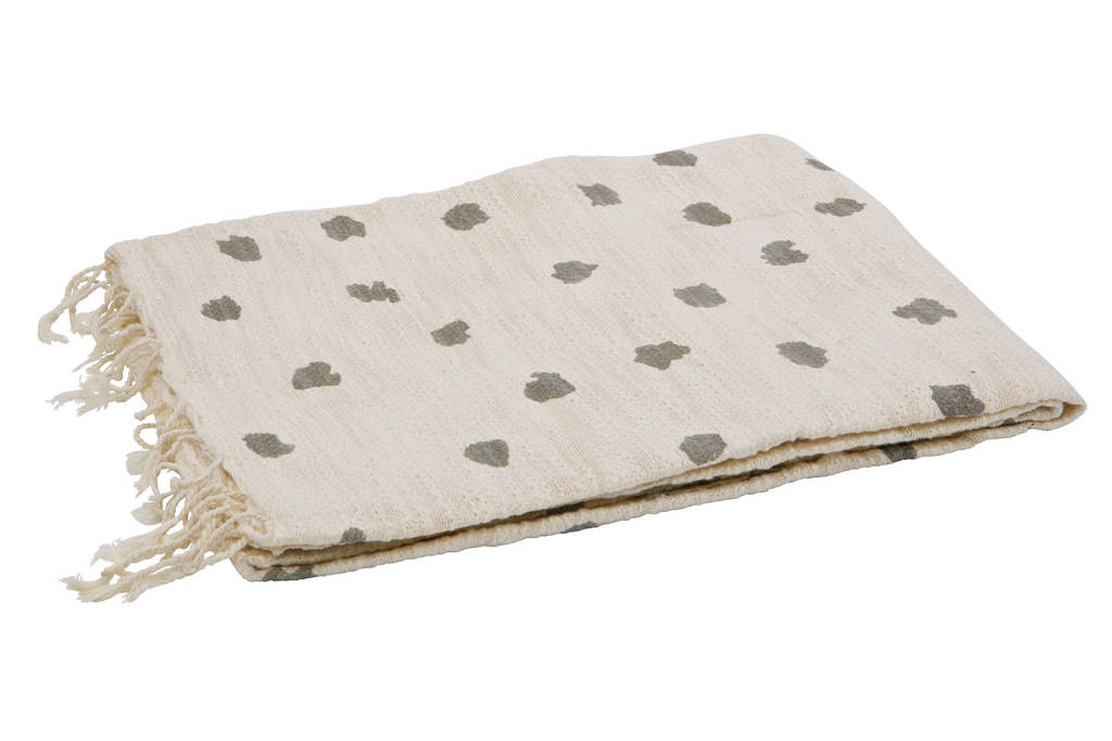 BePureHome plaid Dot (130x170 cm), wit, grijs