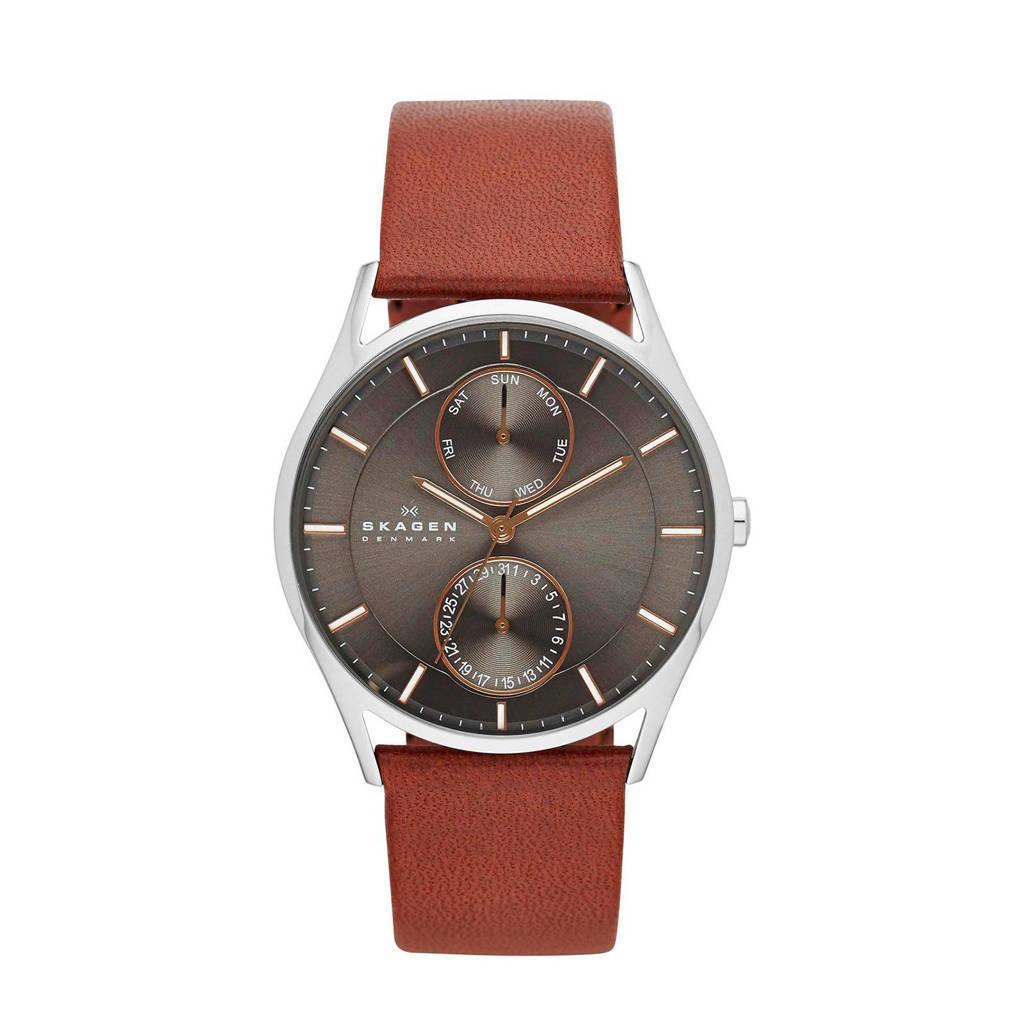 Skagen horloge Holst  SKW6086 bruin, Zilver/bruin