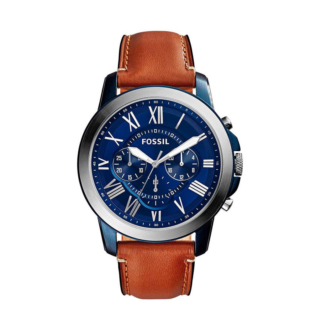 Fossil Grant Heren Horloge FS5151, Blauw/cognac