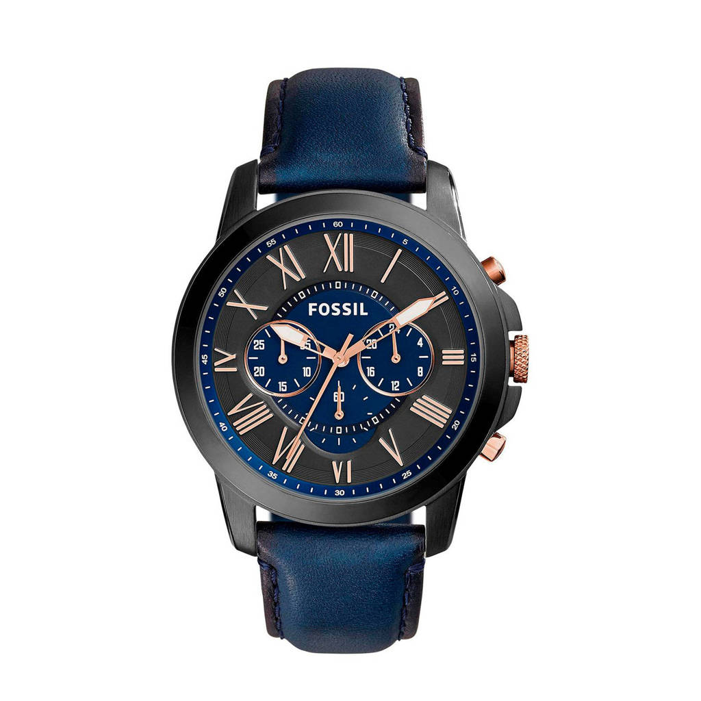 Fossil  horloge FS5061 Grant zwart/blauw, Zwart/blauw