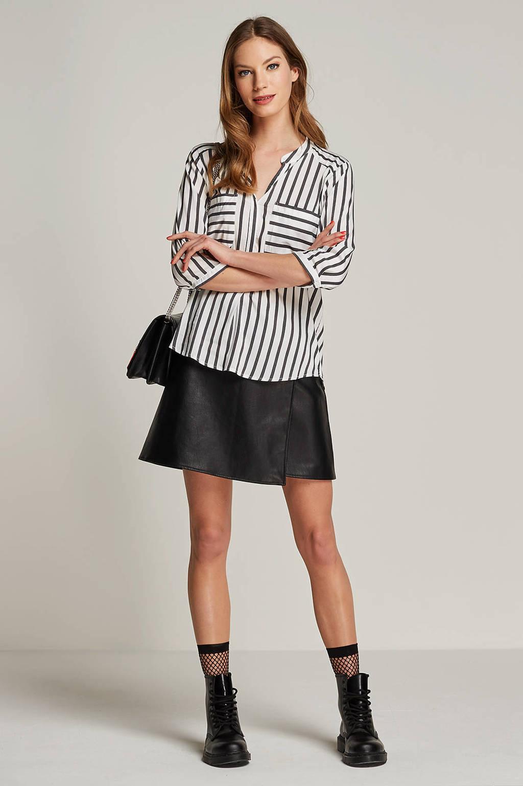 VERO MODA blouse met streepdessin, Ecru/grijs