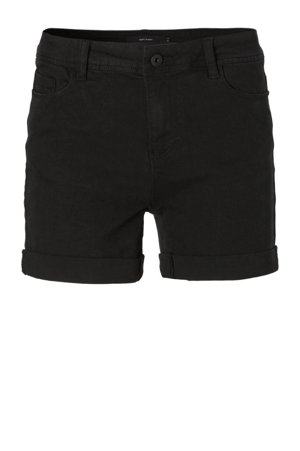 VERO MODA regular waist slim fit jeans short, Zwart