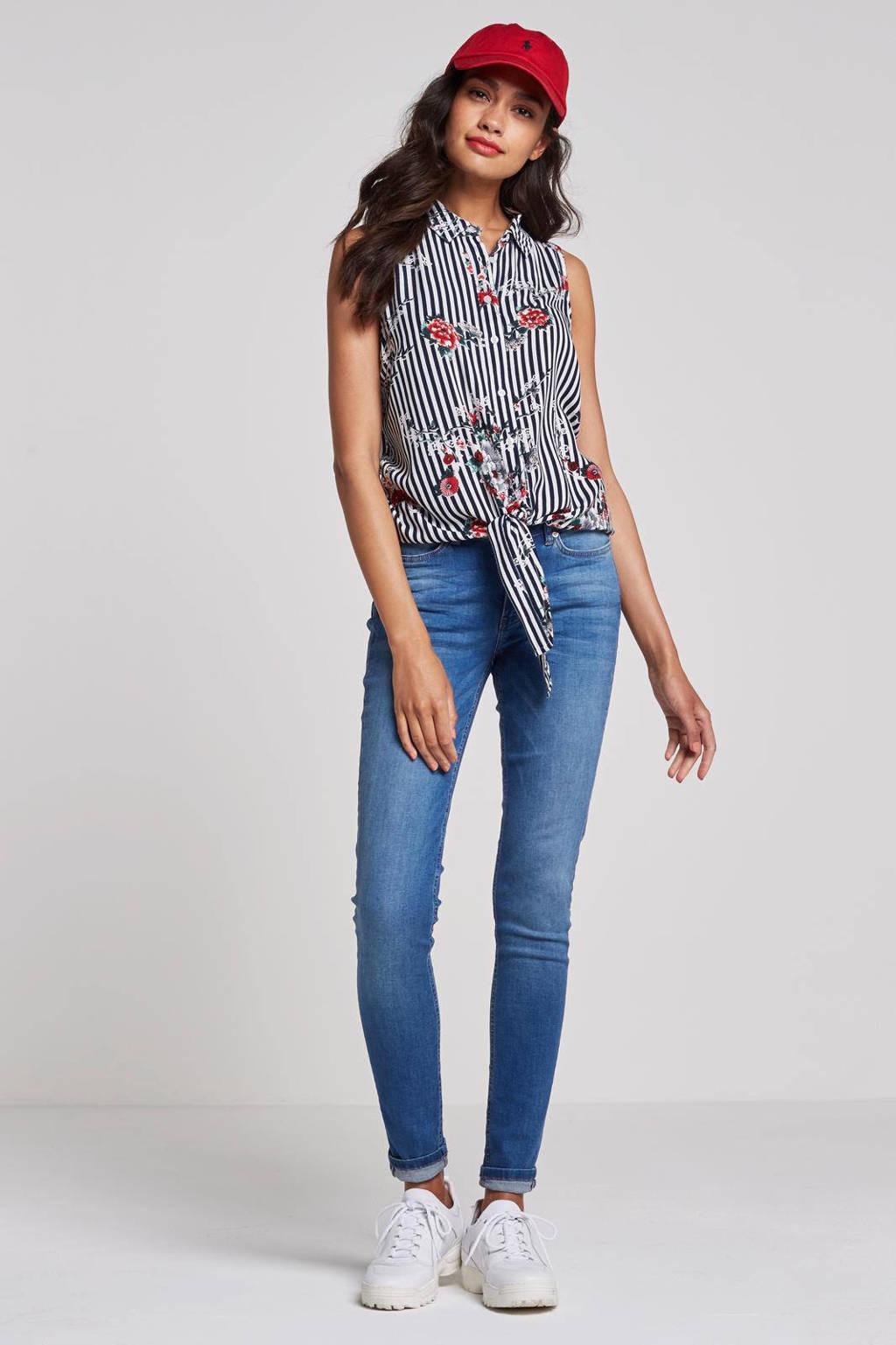 whkmp's beachwave mouwloze blouse, Wit/blauw/rood