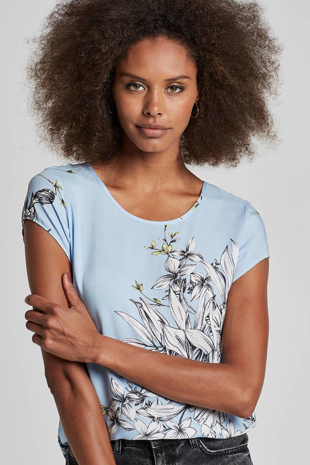 VERO MODA top met all over print, Lichtblauw/zwart/wit