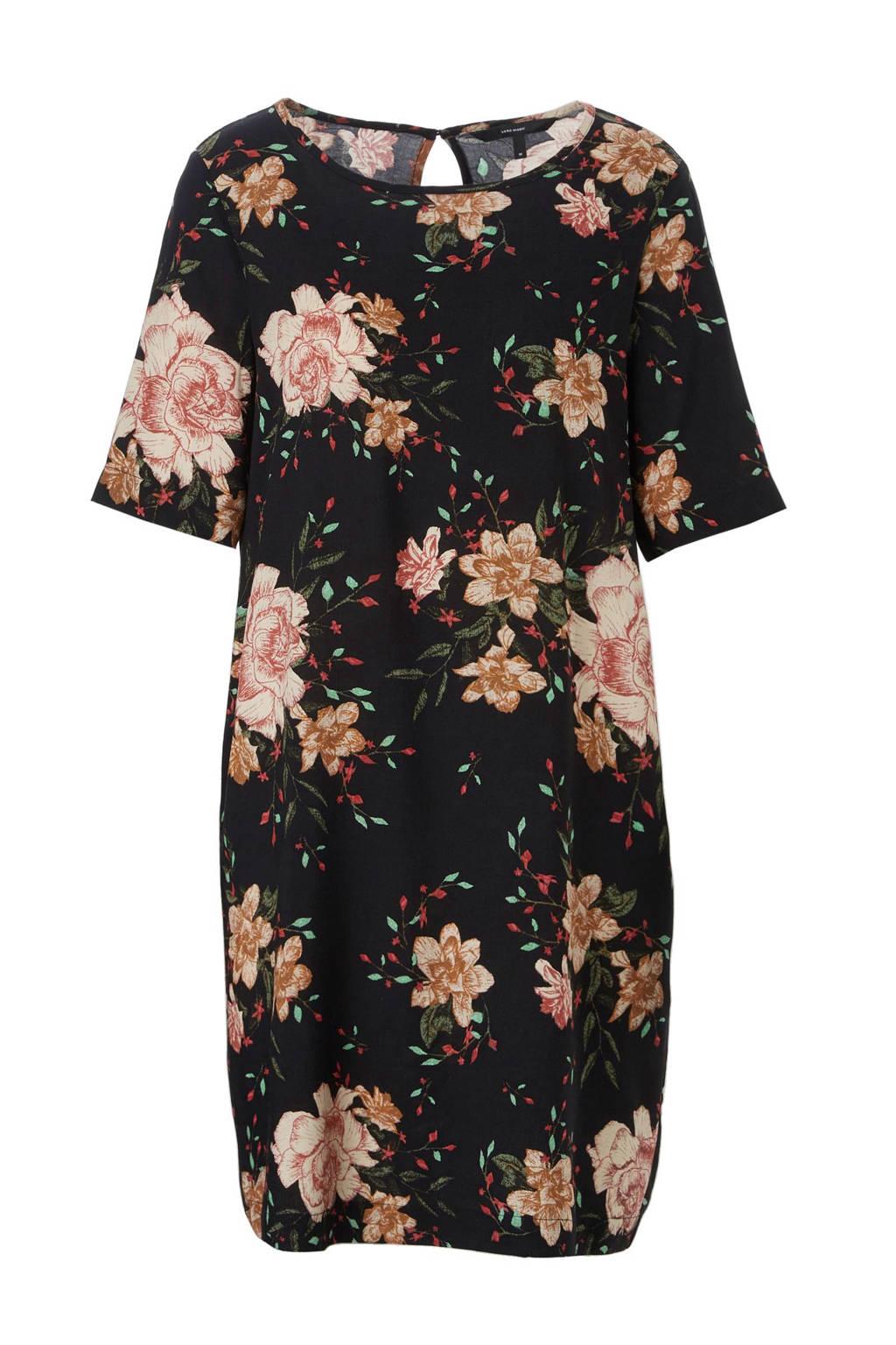 VERO MODA jurk met bloemendessin, Zwart/rood/groen