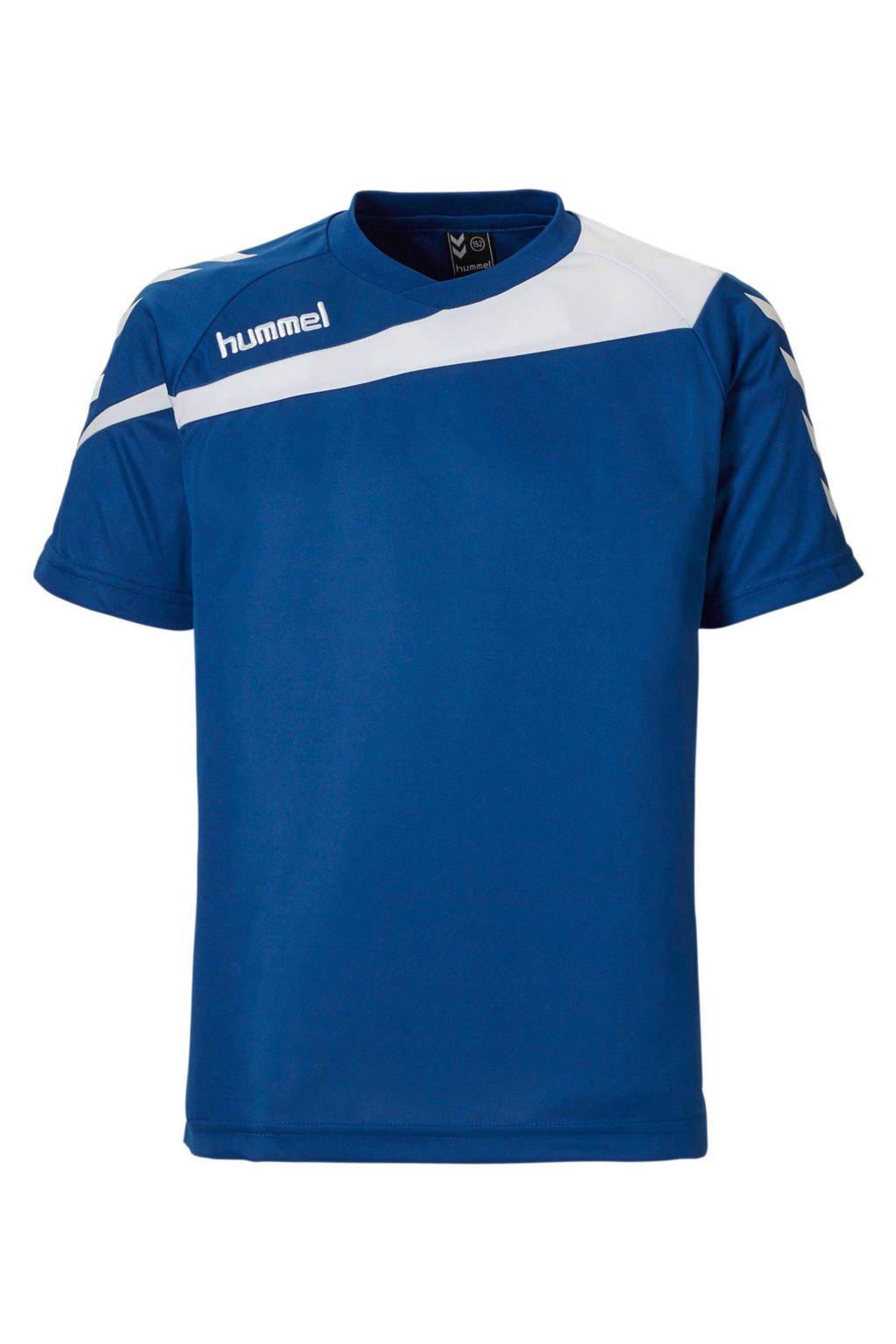 hummel Junior  sport T-shirt, Blauw/wit, Jongens/meisjes