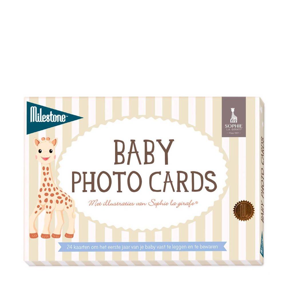 Milestone Sophie de Giraf baby fotokaarten (24 stuks), Wit