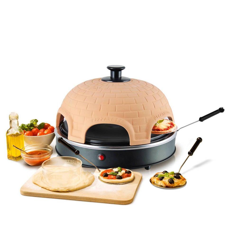 Emerio Classic Pizzarette, 6 persoons, Terracotta/zwart