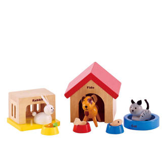 houten dierenset voor poppenhuis