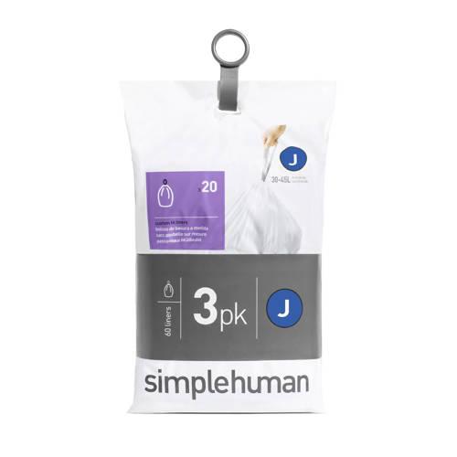 SimpleHuman 60 afvalzakken, code J 38-40 liter kopen