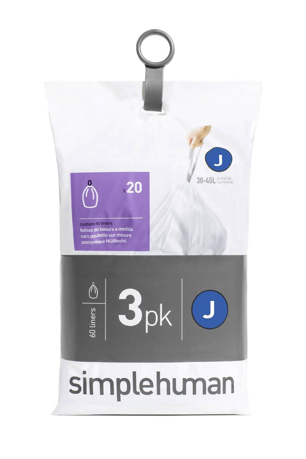 SimpleHuman 60 afvalzakken, code J 38-40 liter