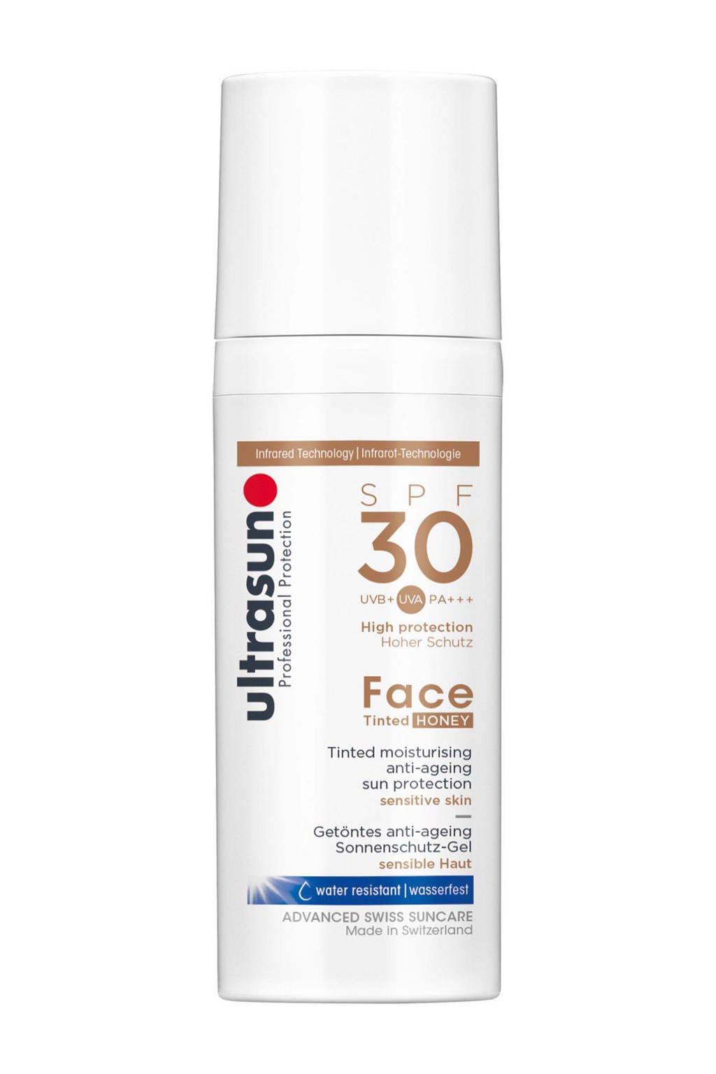 Ultrasun Face Tinted zonnebrandcrème SPF 30 - 50 ml, Zonnefactor SPF 30
