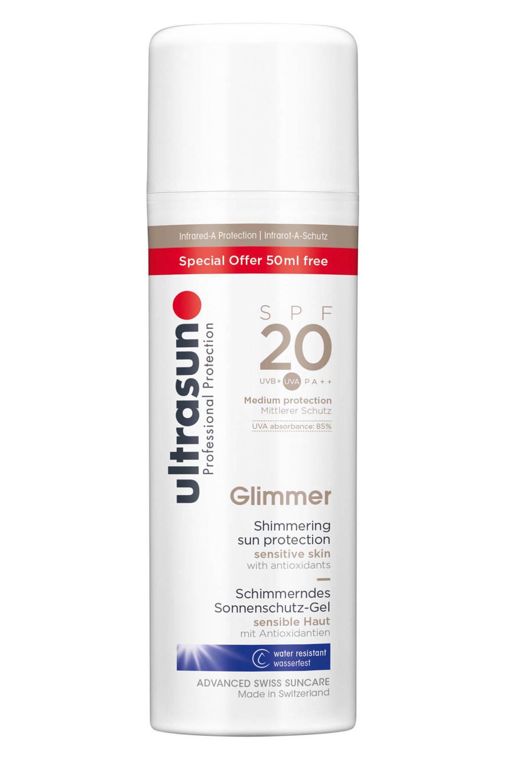 Ultrasun Glimmer zonnebrandmelk SPF 20 - 150 ml, Zonnefactor SPF 20