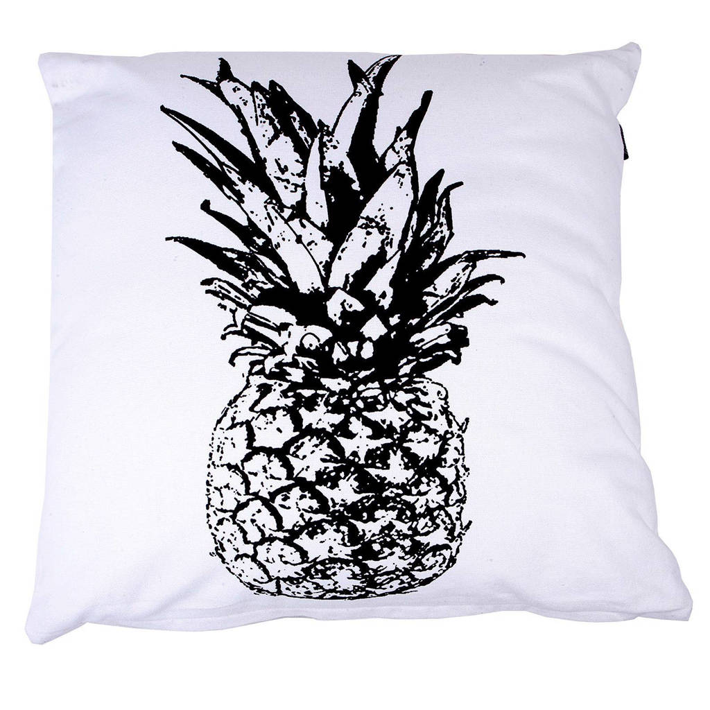 Mood collection kussenhoes Ananas (50x50 cm), Zwart, wit