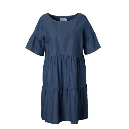denim A-lijn jurk met plooien