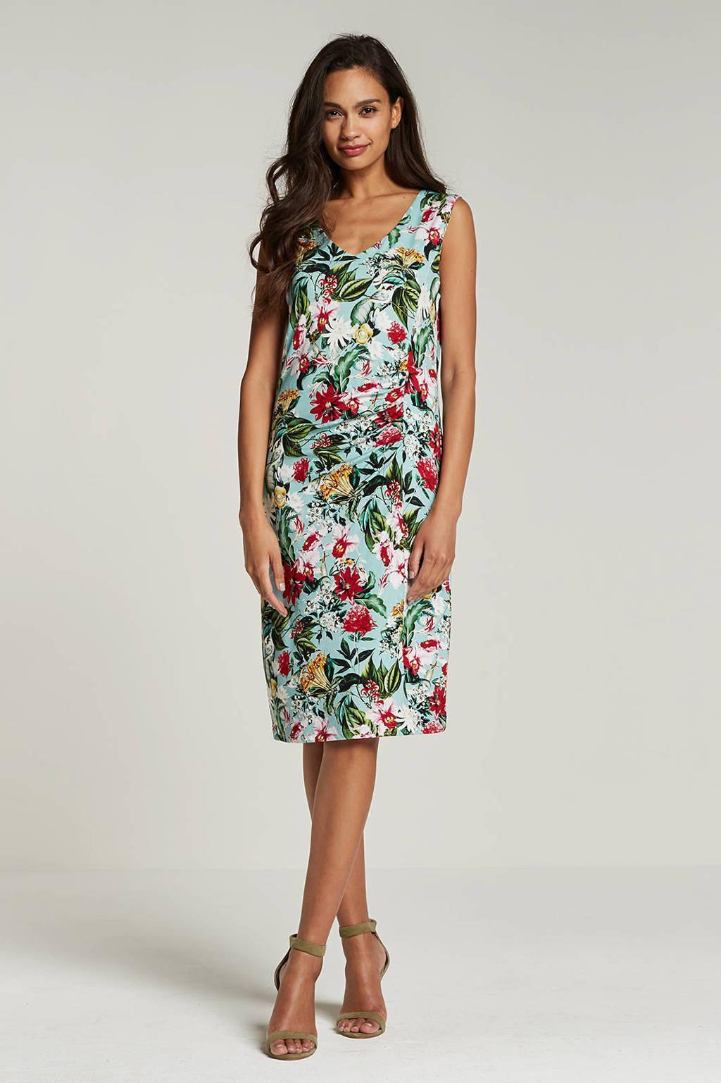 Smashed Lemon bloemen jurk, Lichtblauw/rood/roze