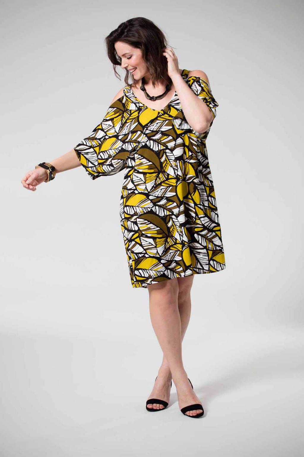 MS Mode jurk, Bruin/wit.mosterdgeel